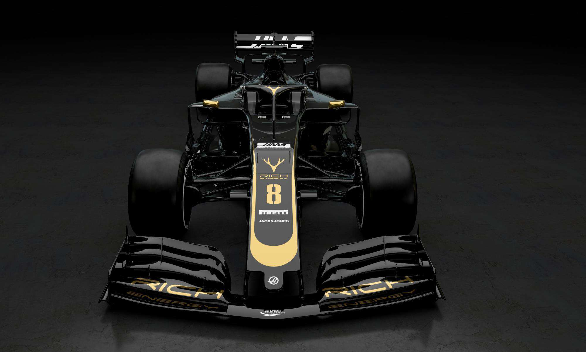 Haas VF19 gold black Rich Energy 2019 F1 livery front Photo Haas
