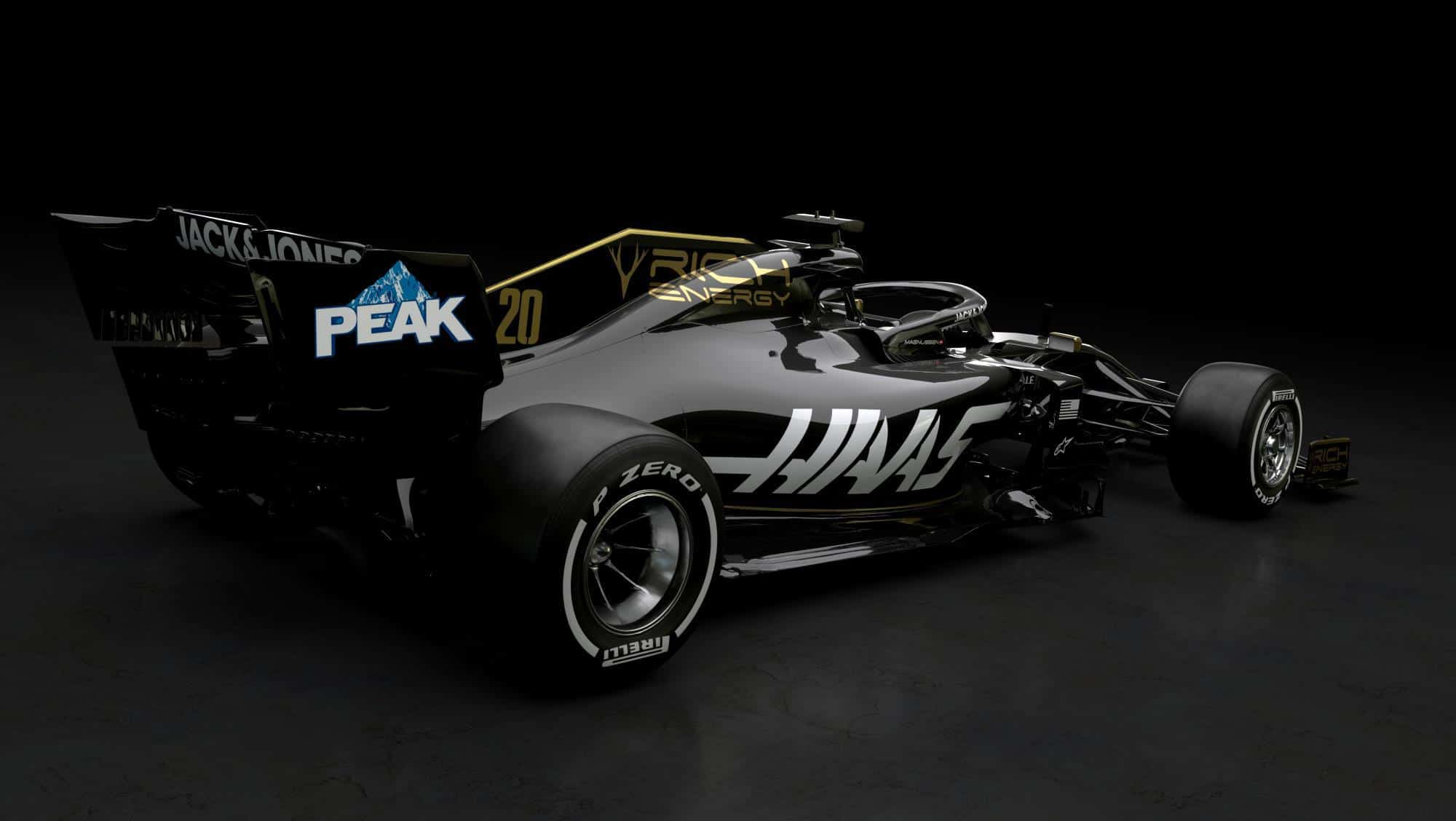 Haas VF19 gold black Rich Energy 2019 F1 livery side rear Photo Haas
