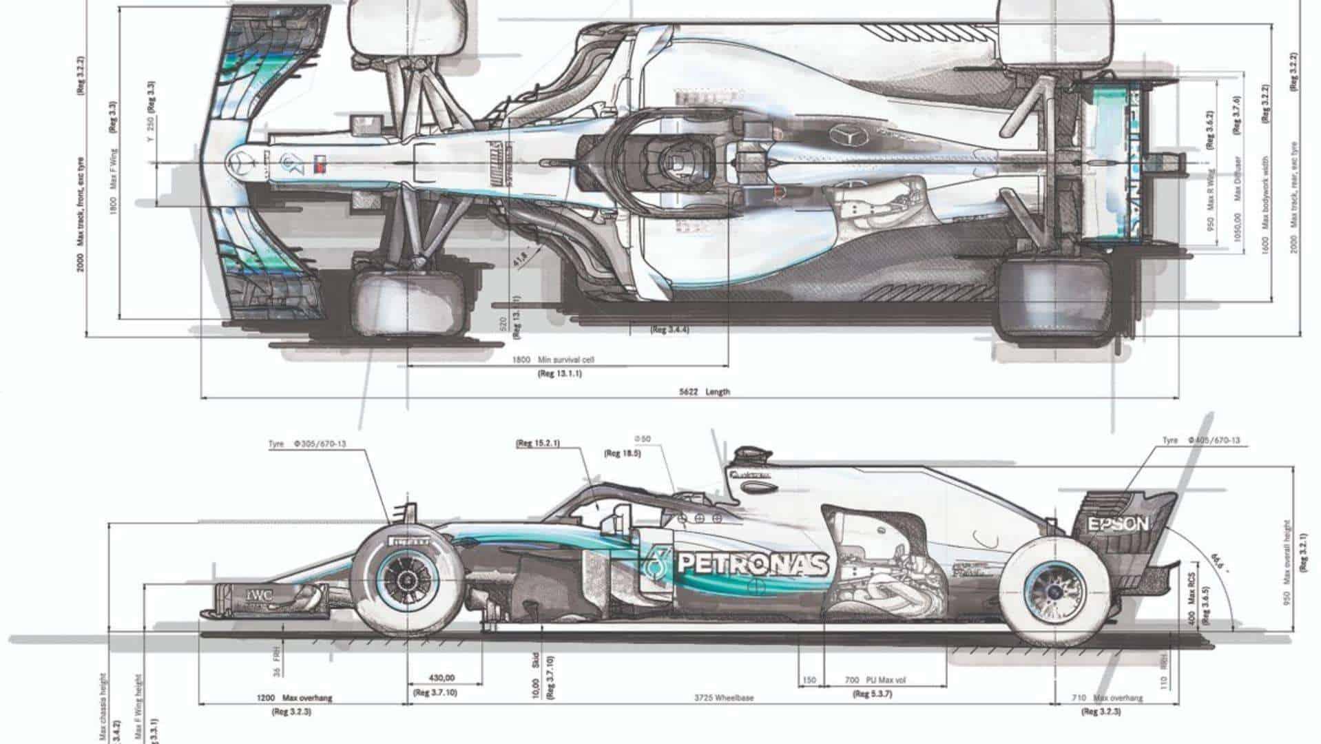 Mercedes F1 2018 W09 sketch