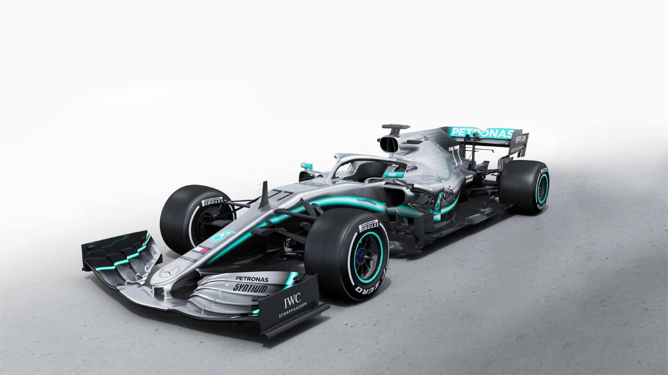 Mercedes F1 W10 EQ Power + studio photo side angle hi res