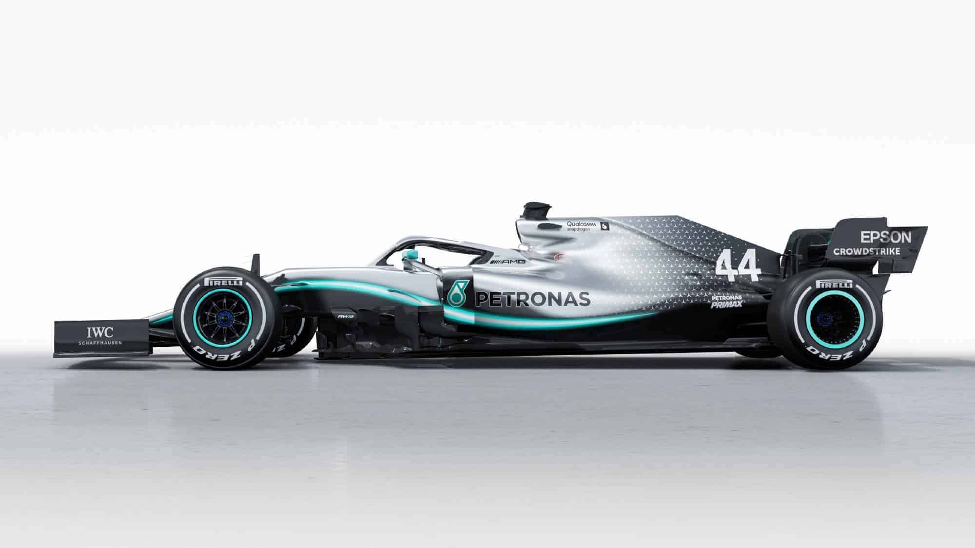 Mercedes F1 W10 EQ Power + studio photo side hi res