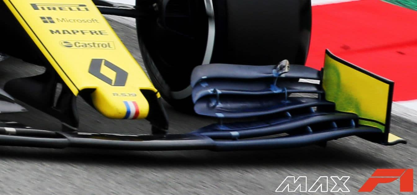 Renault R.S.19 front wing floviz pattern Barcelona Test 1 Day 3 F1 2019 Photo Renault Edited by MAXF1net