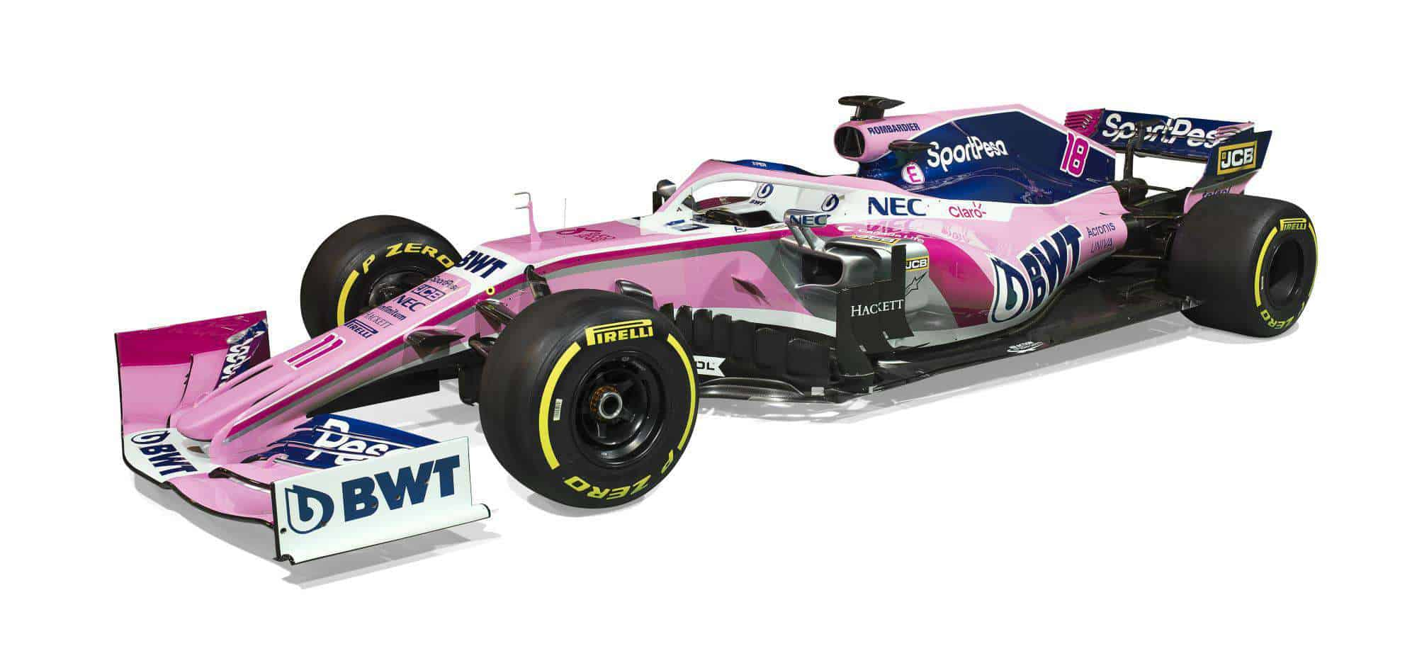Sport Pesa Racing Point 2019 F1 launch Toronto studio photo car side angle view Photo Racing Point