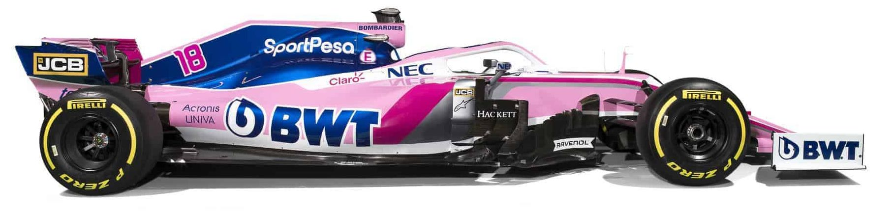 Sport Pesa Racing Point 2019 F1 launch Toronto studio photo car side view Photo Racing Point