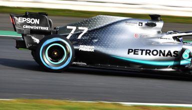 Valtteri Bottas Mercedes F1 W10 EQ Power + F1 2019 Silverstone shakedown rear end engine cover zoom Photo Daimler Edited by MAXF1net