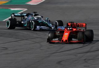 Vettel Ferrari SF90 leads Bottas Mercedes W10 Barcelona Test 1 F1 2019 Testing Photo Pirelli