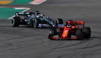 Vettel Ferrari SF90 leads Bottas Mercedes W10 Barcelona Test 1 F1 2019 Testing Photo Pirelli