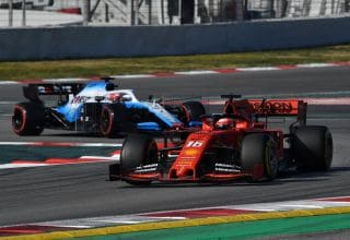 Vettel Ferrari SF90 leads Kubica Williams FW42 Barcelona Test 1 F1 2019 Testing Photo Pirelli