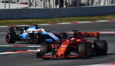 Vettel Ferrari SF90 leads Kubica Williams FW42 Barcelona Test 1 F1 2019 Testing Photo Pirelli