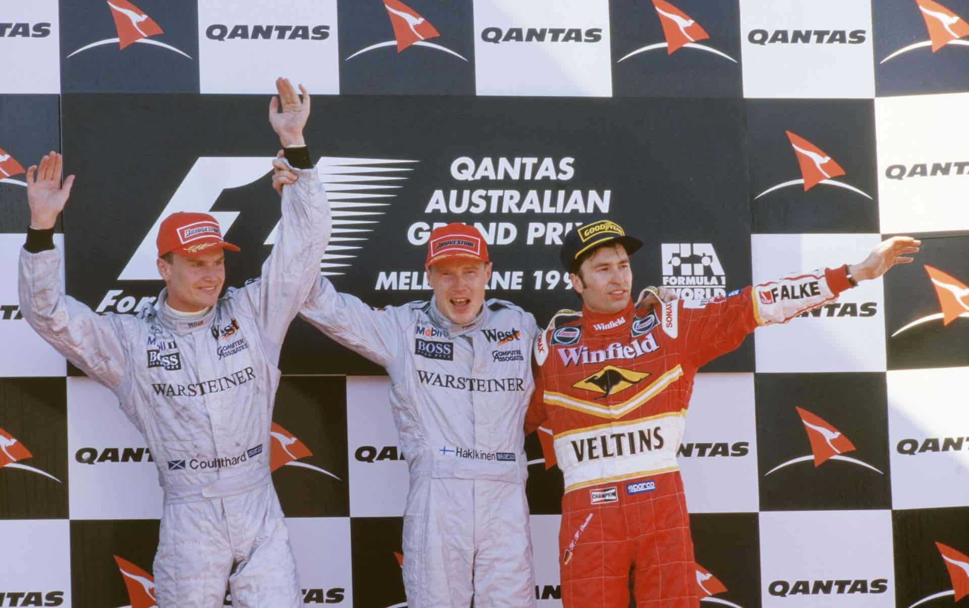 1998-Australian-GP-podium-F1-Hakkinen-Coulthard-Frentzen-Photo-Williams