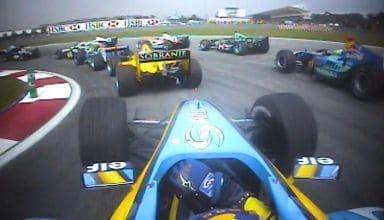 2004 Malaysian GP F1 Alonso Renault onboard start