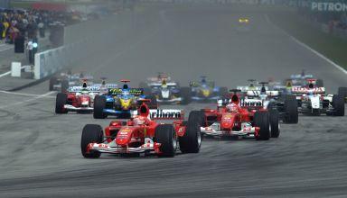 2004-Malaysian-GP-F1-start-Michael-Schumacher-leads-Photo-Ferrari