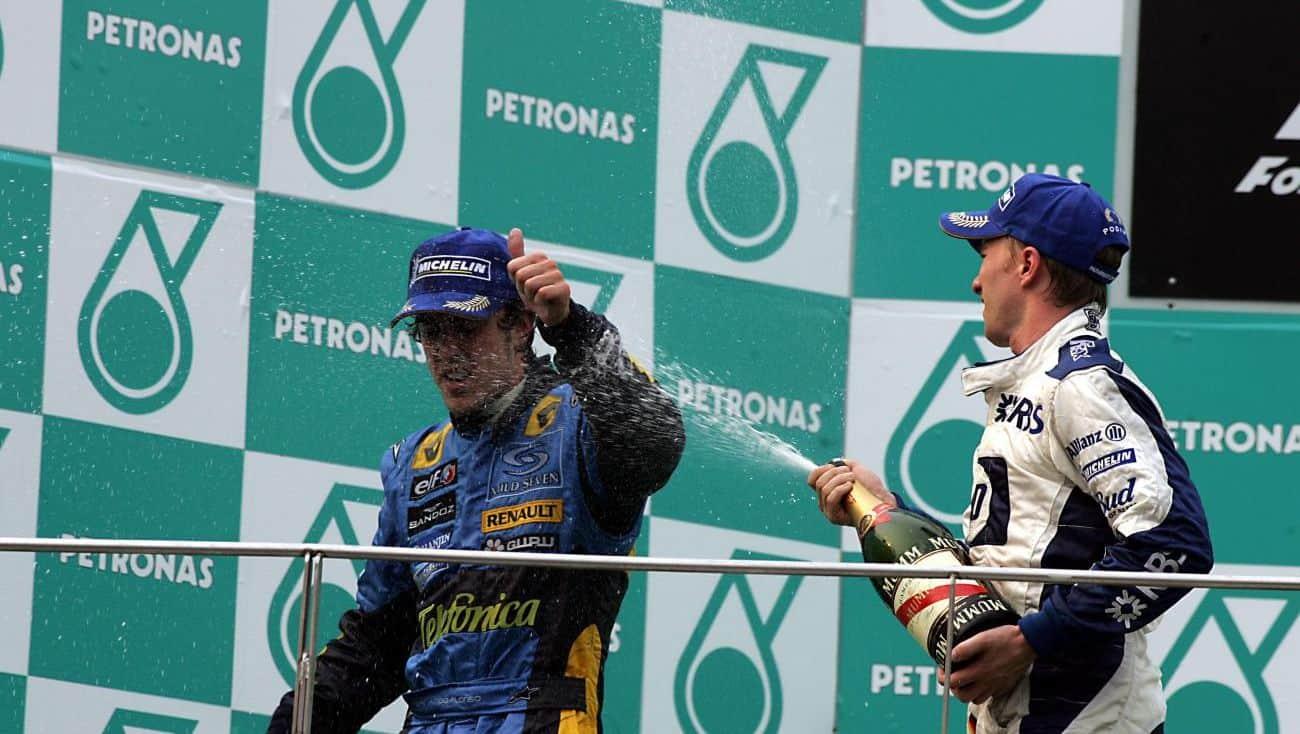 2005-Malaysian-GP-F1-podium-Fernando-Alonso-and-Nick-Heidfeld-Photo-Chrash-net