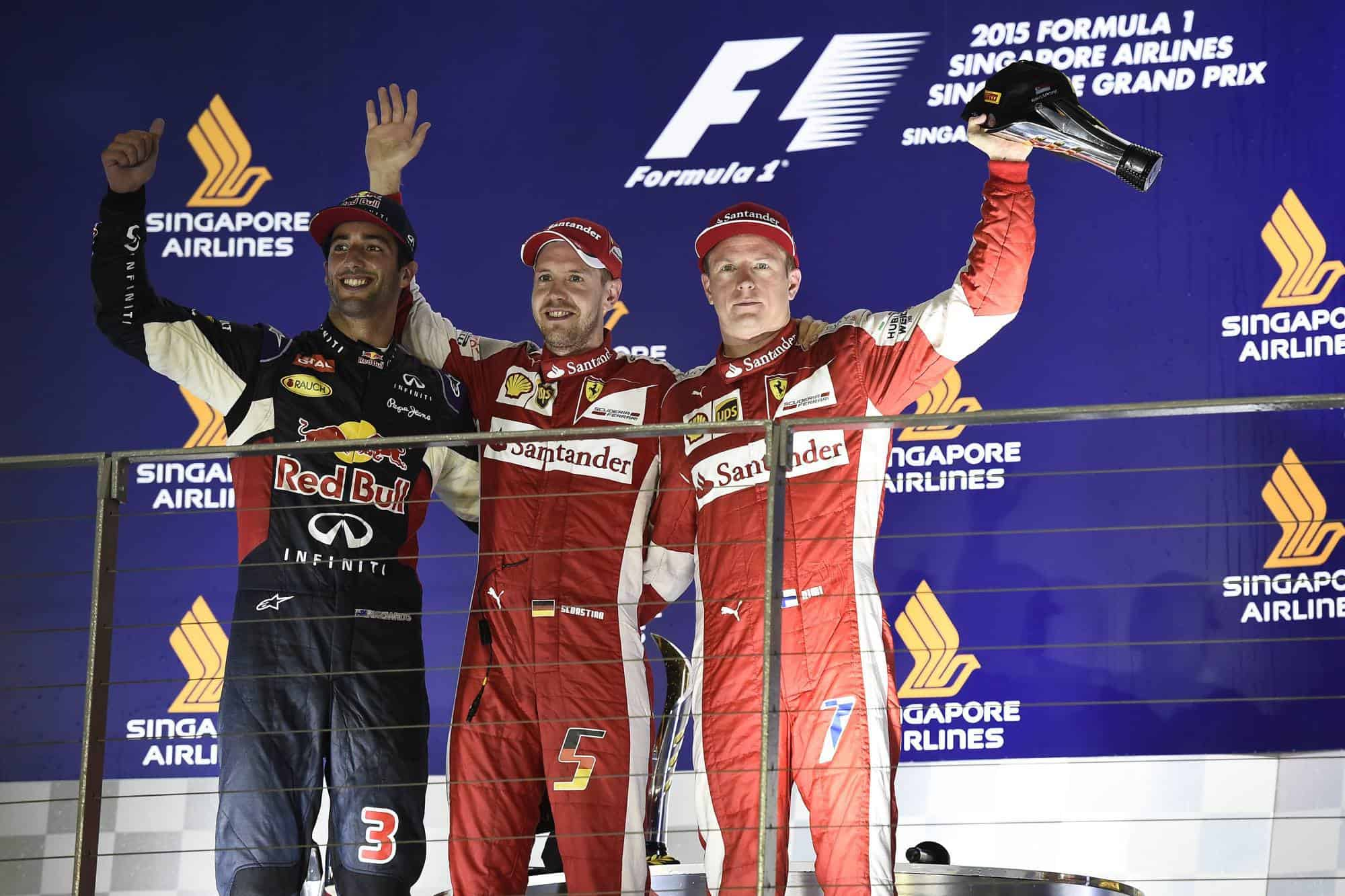 2015 Singapore GP podium Ricciardo Vettel Raikkonen Photo Ferrari