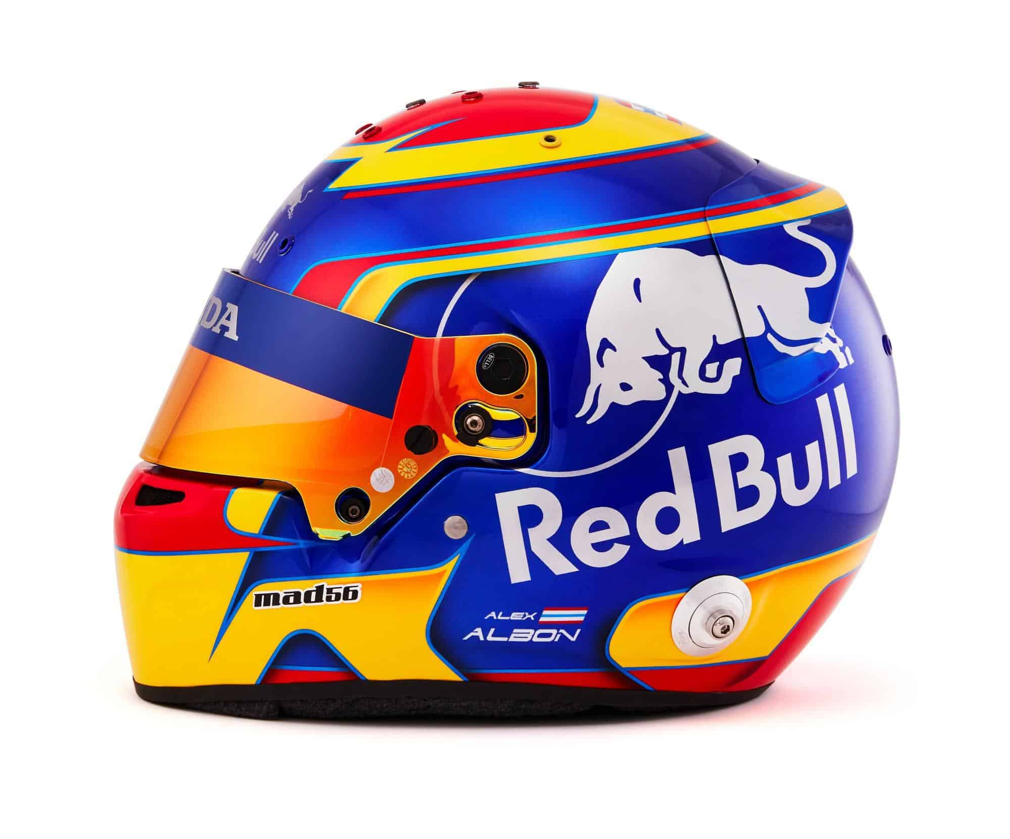 2019 F1 Alexander Albon helmet Toro Rosso Honda left side Photo Red Bull Edited by MAXF1net