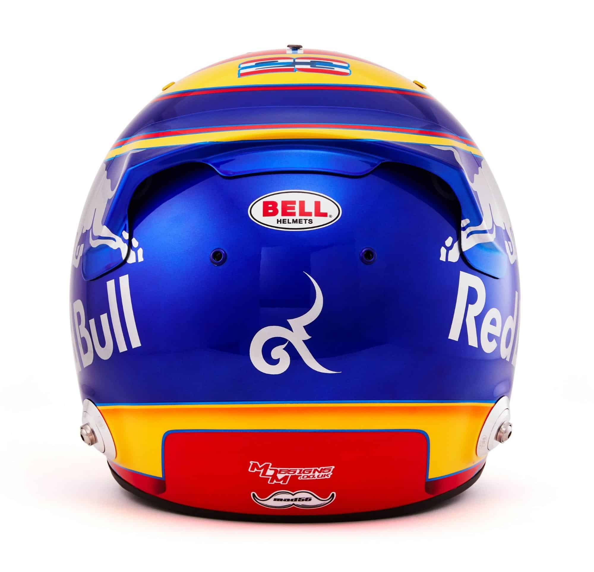 2019 F1 Alexander Albon helmet Toro Rosso Honda rear Photo Red Bull Edited by MAXF1net