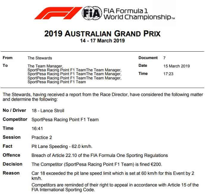 2019 F1 Australian GP Lance Stroll Racing Point penalty for speeding in the pitlane first penalty in F1 2019 Photo FIA Edited by MAXF1net
