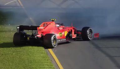 2019 F1 Australian GP Leclerc Ferrari spin Screenshot Youtube F1