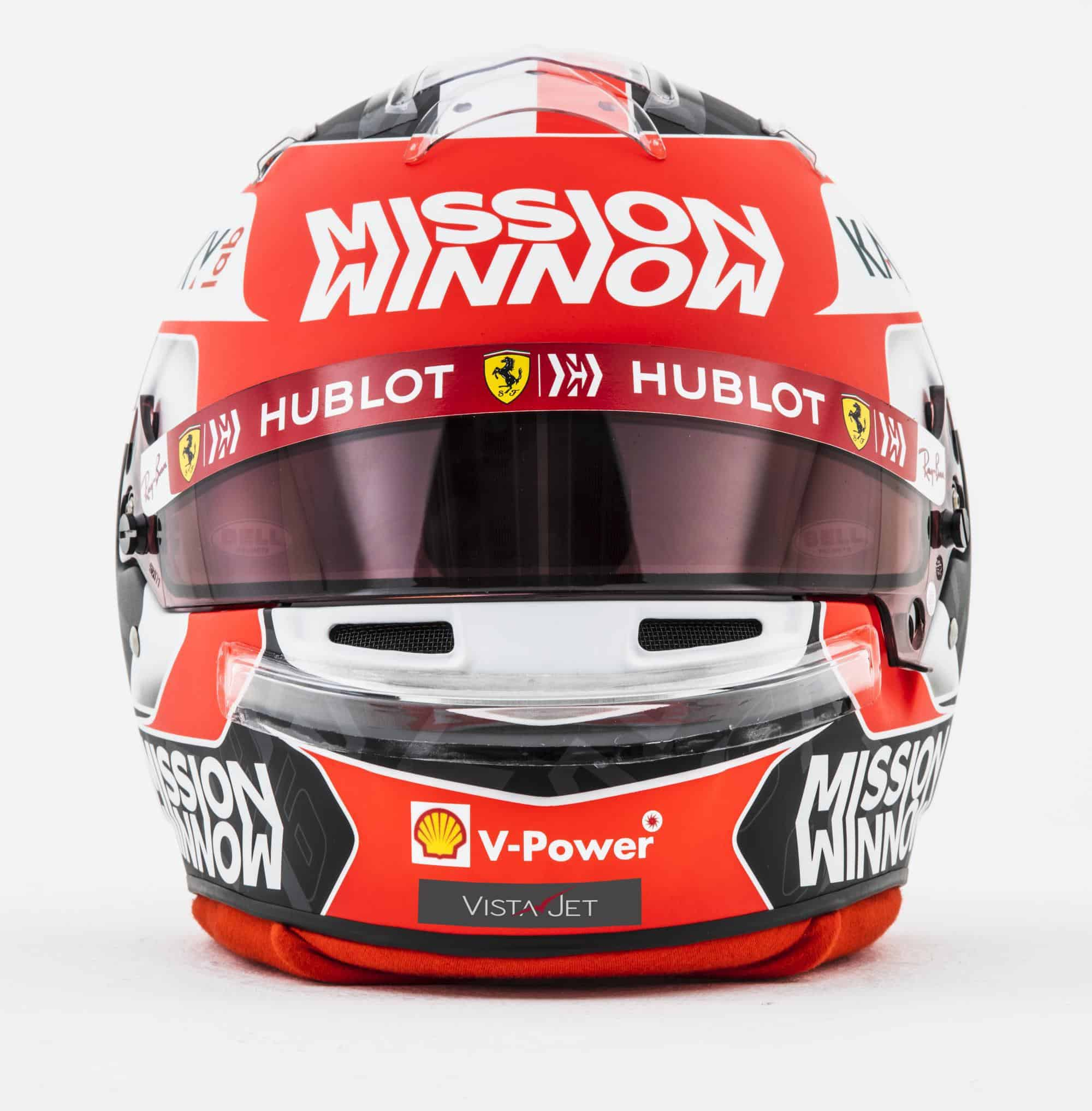 2019 F1 Charles Leclerc Ferrari helmet front Photo Ferrari Edited by MAXF1net