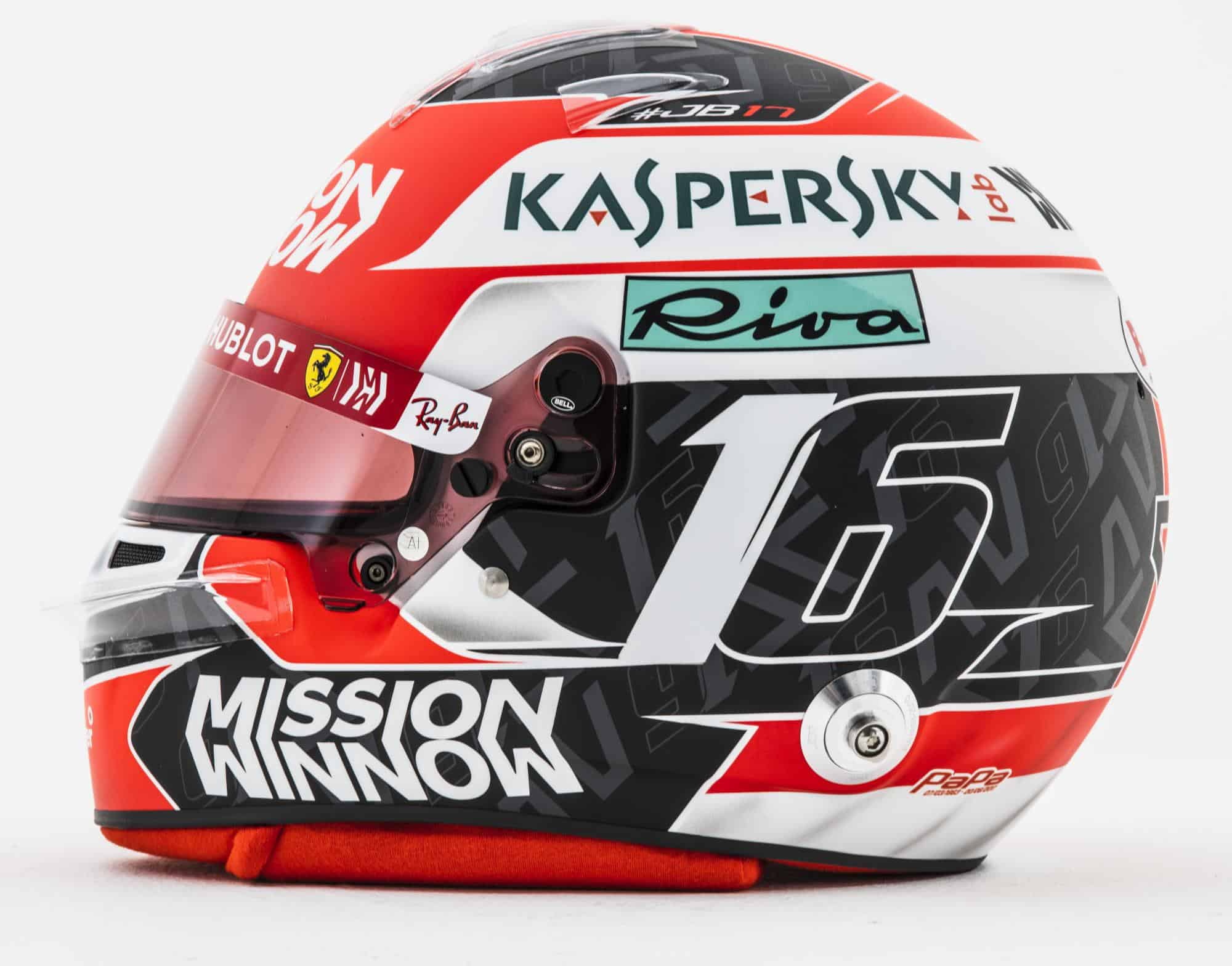 2019 F1 Charles Leclerc Ferrari helmet left side Photo Ferrari Edited by MAXF1net