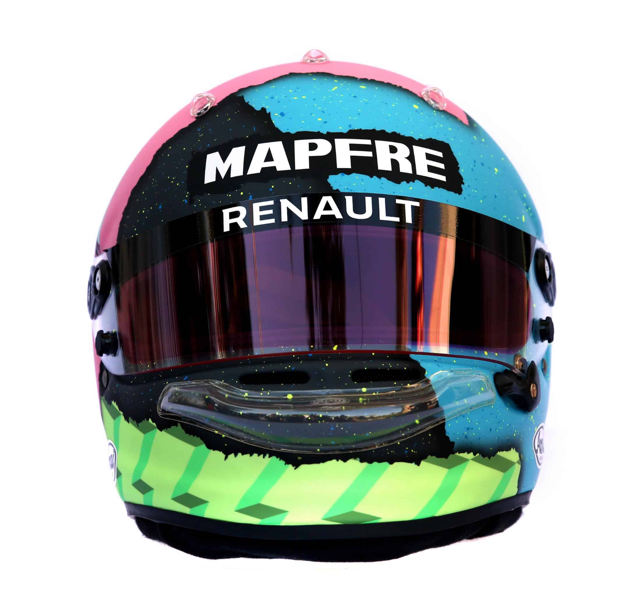 2019 F1 Daniel Ricciardo Renault helmet front Photo Renault Edited by MAXF1net