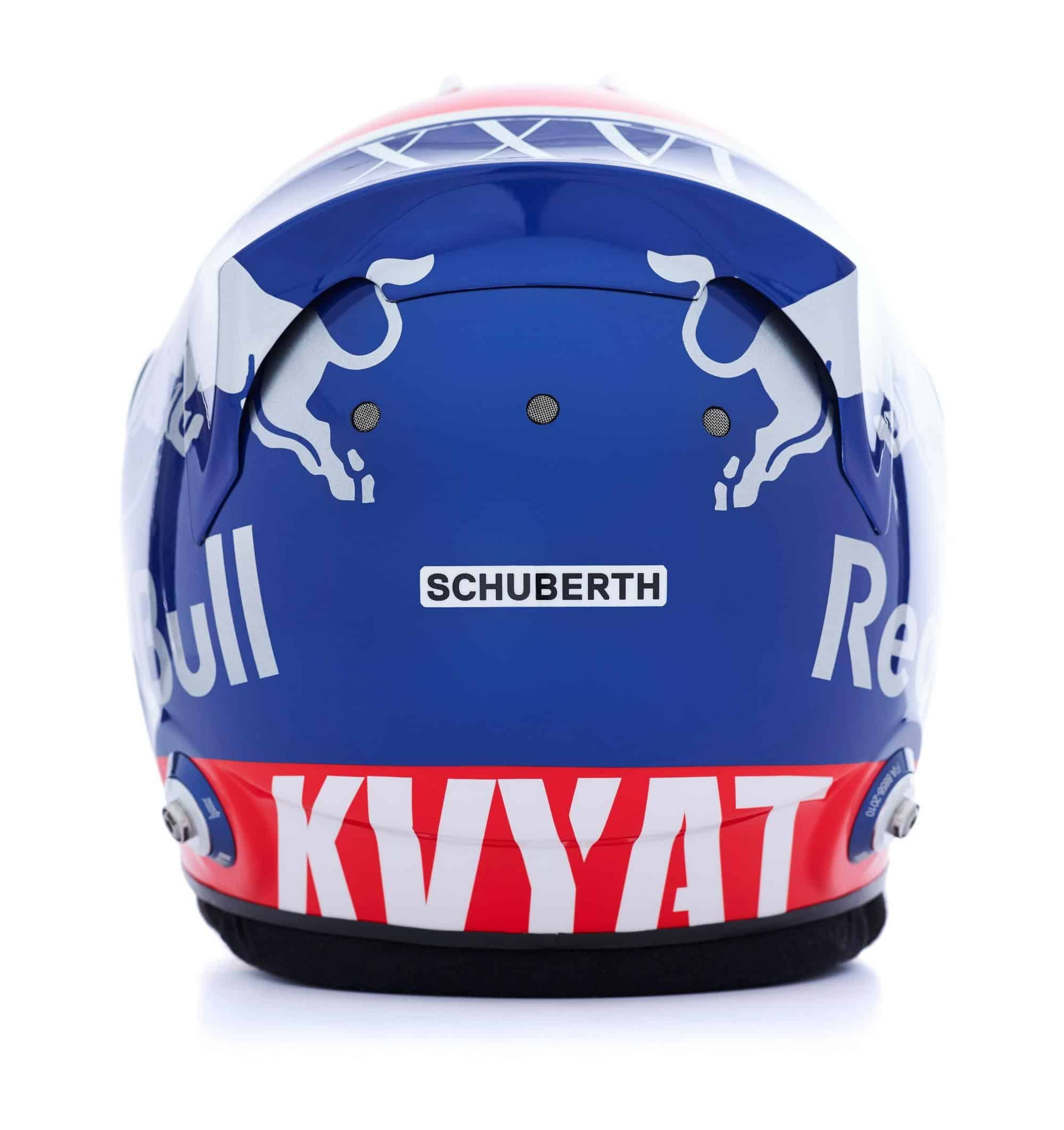 2019 F1 Daniil Kvyat helmet Toro Rosso Honda rear Photo Red Bull Edited by MAXF1net