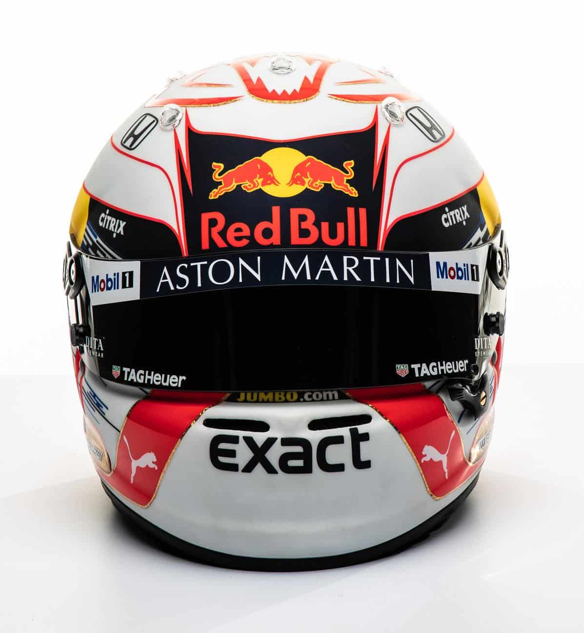 2019 F1 Max Verstappen Red Bull Honda helmet front Photo Red Bull Edited by MAXF1net