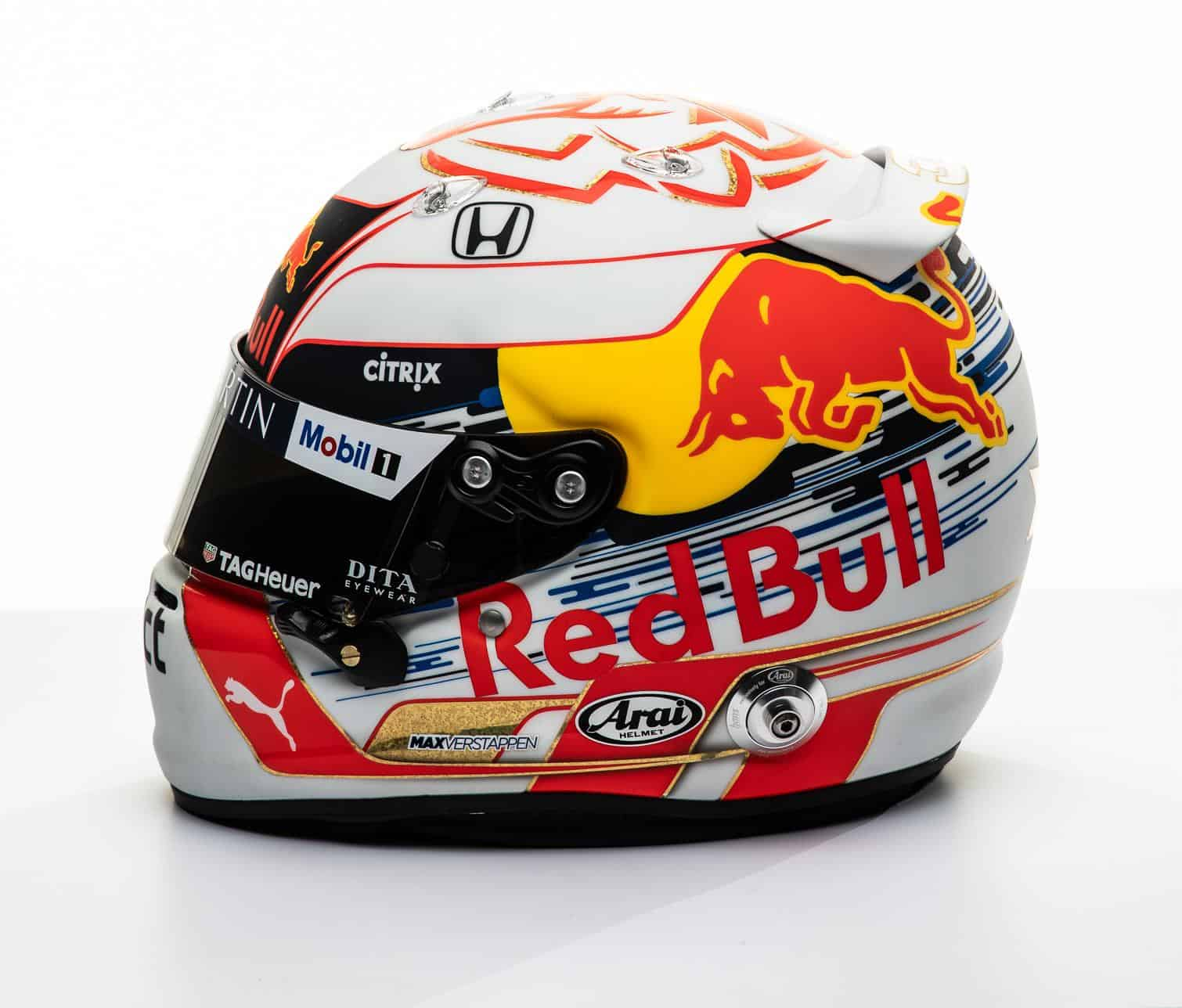 2019 F1 Max Verstappen Red Bull Honda helmet left side Photo Red Bull Edited by MAXF1net