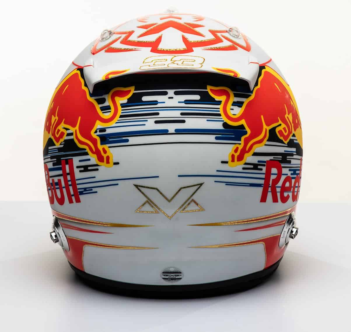 2019 F1 Max Verstappen Red Bull Honda helmet rear Photo Red Bull Edited by MAXF1net