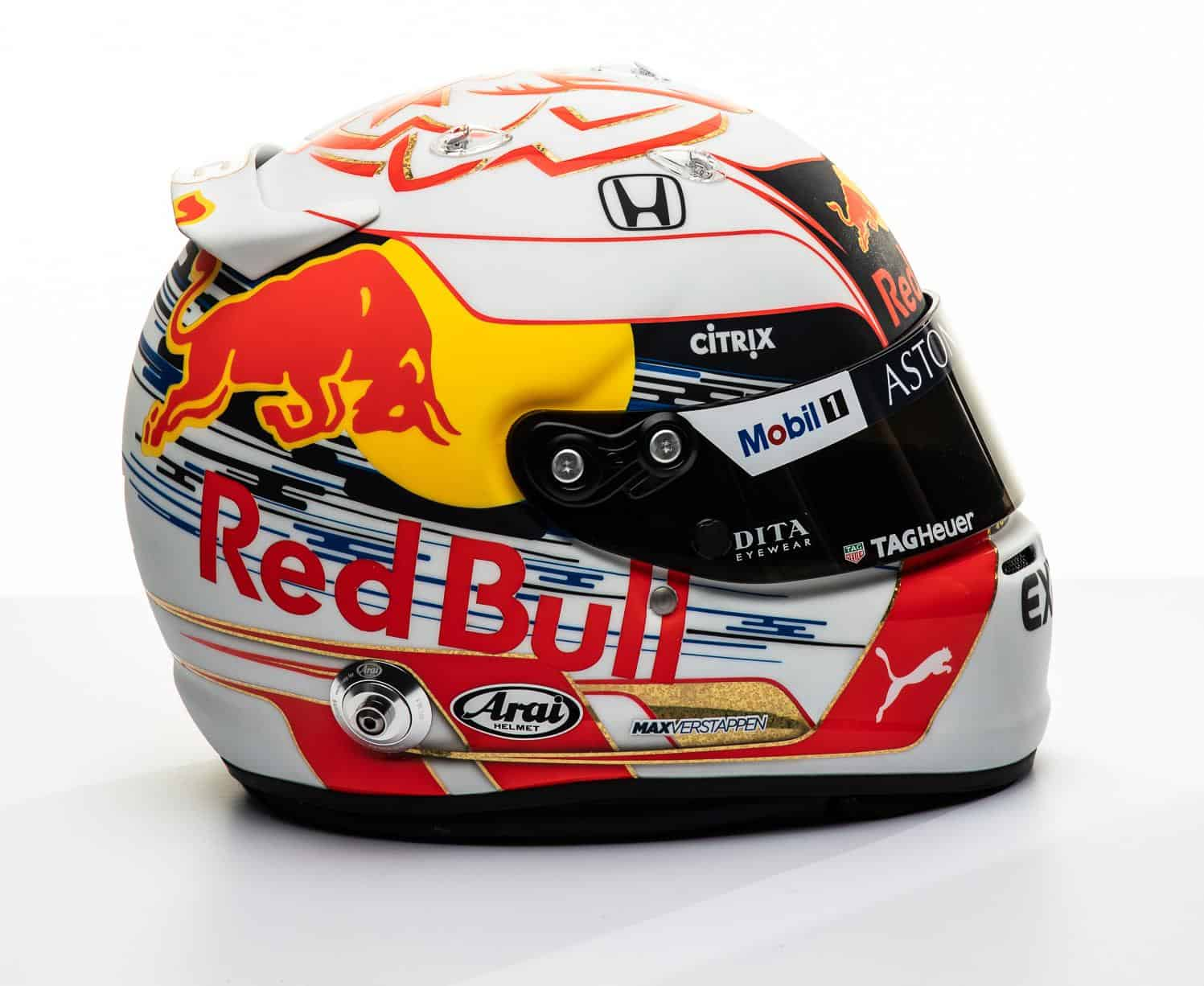 2019 F1 Max Verstappen Red Bull Honda helmet right side Photo Red Bull Edited by MAXF1net