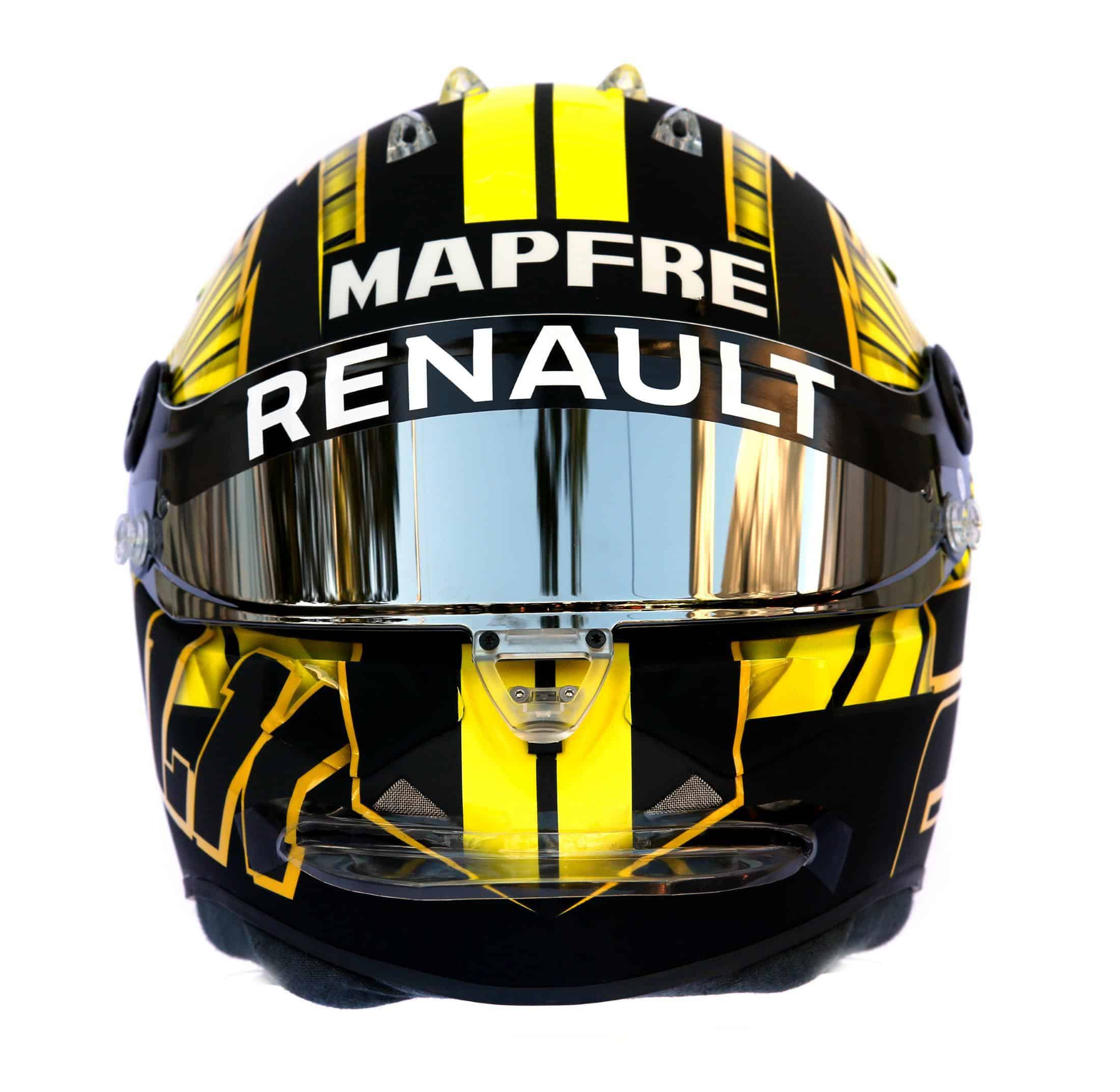 2019 F1 Nico Hulkenberg Renault helmet front Photo Renault Edited by MAXF1net