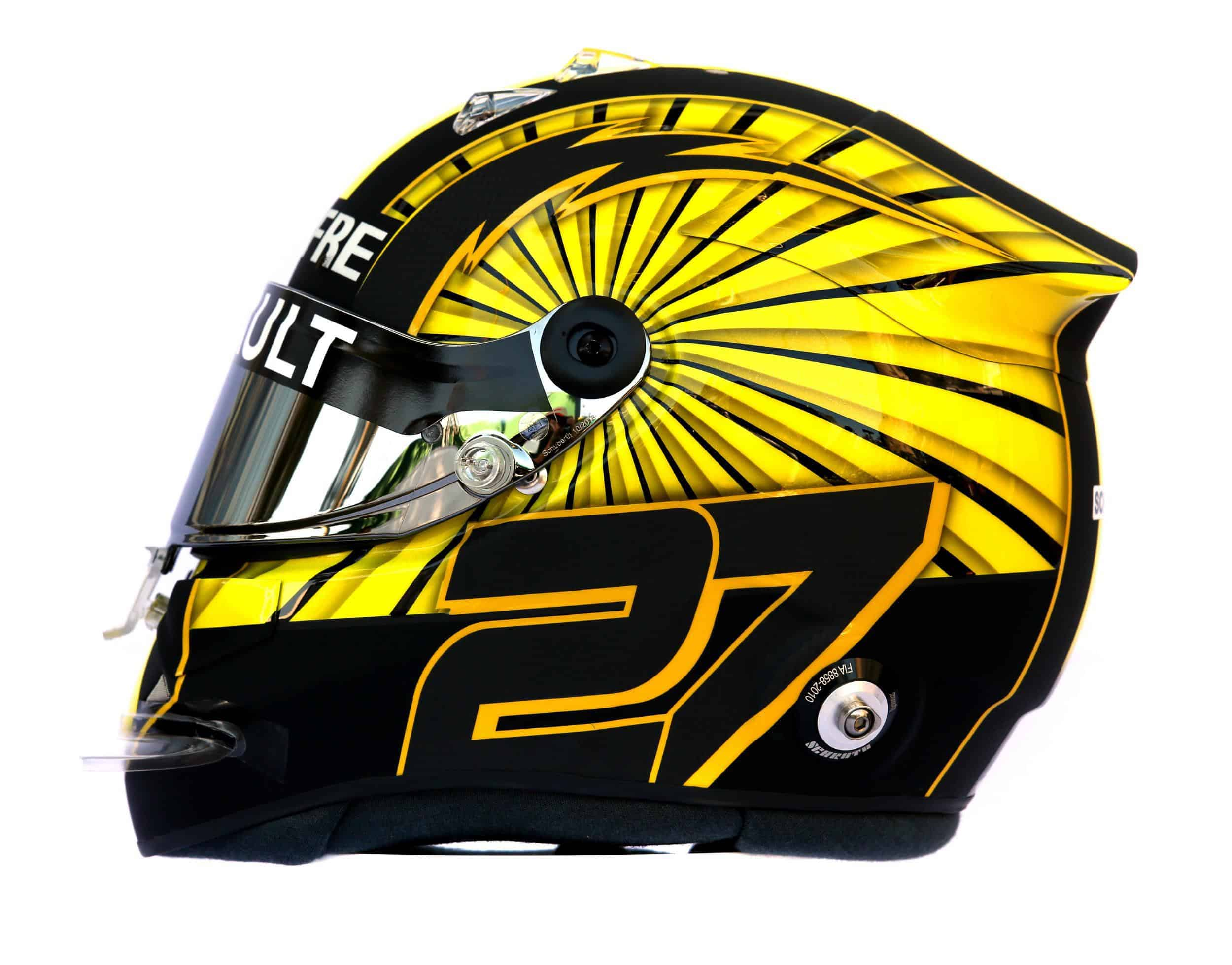 2019 F1 Nico Hulkenberg Renault helmet left side Photo Renault Edited by MAXF1net