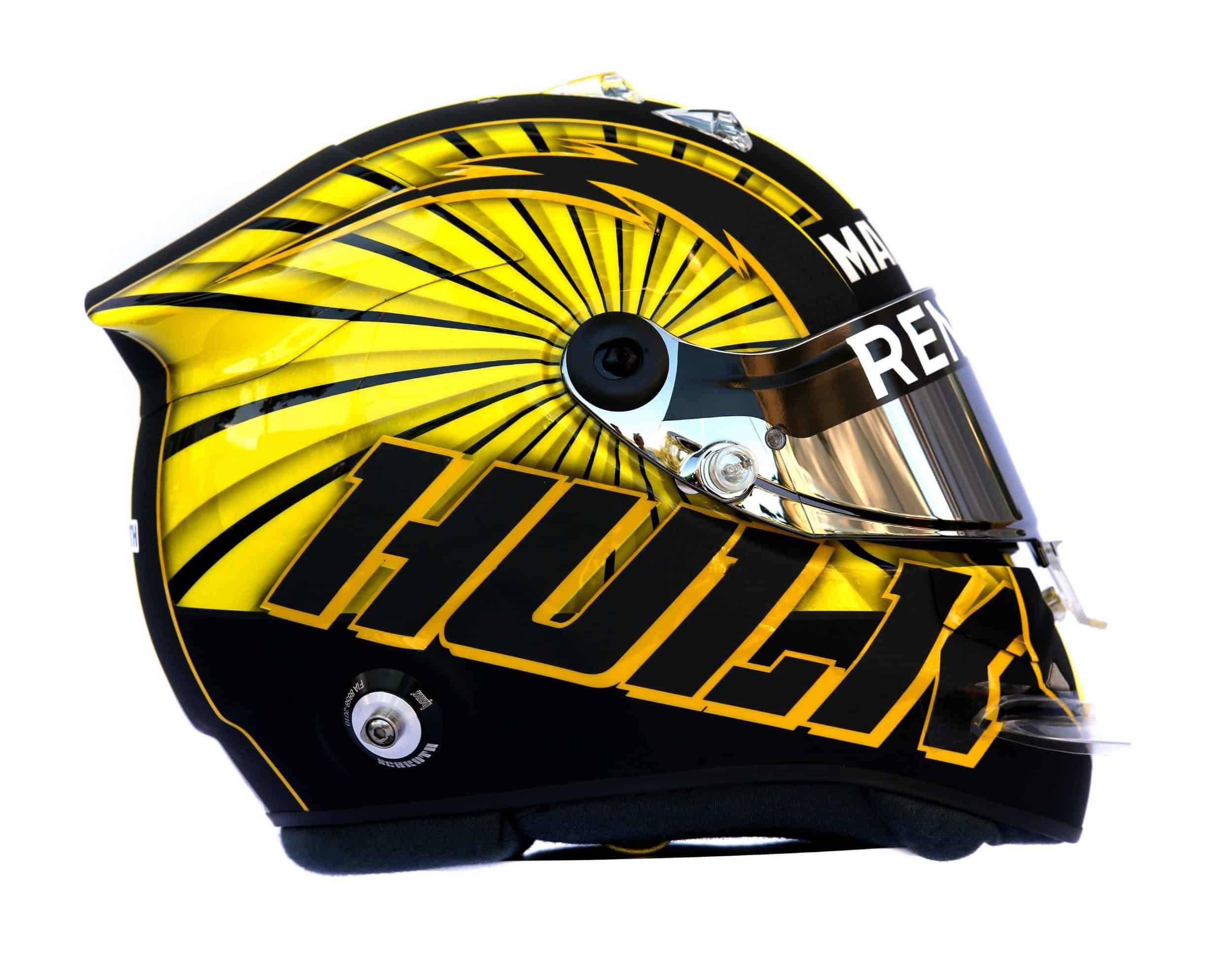 2019 F1 Nico Hulkenberg Renault helmet right side Photo Renault Edited by MAXF1net