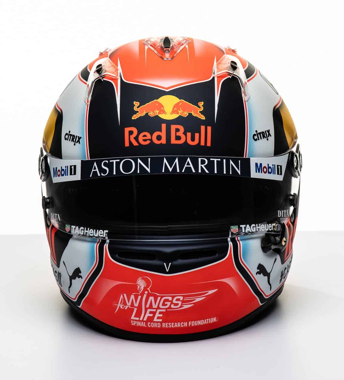 2019 F1 Pierre Gasly Red Bull Honda helmet front Photo Red Bull Edited by MAXF1net