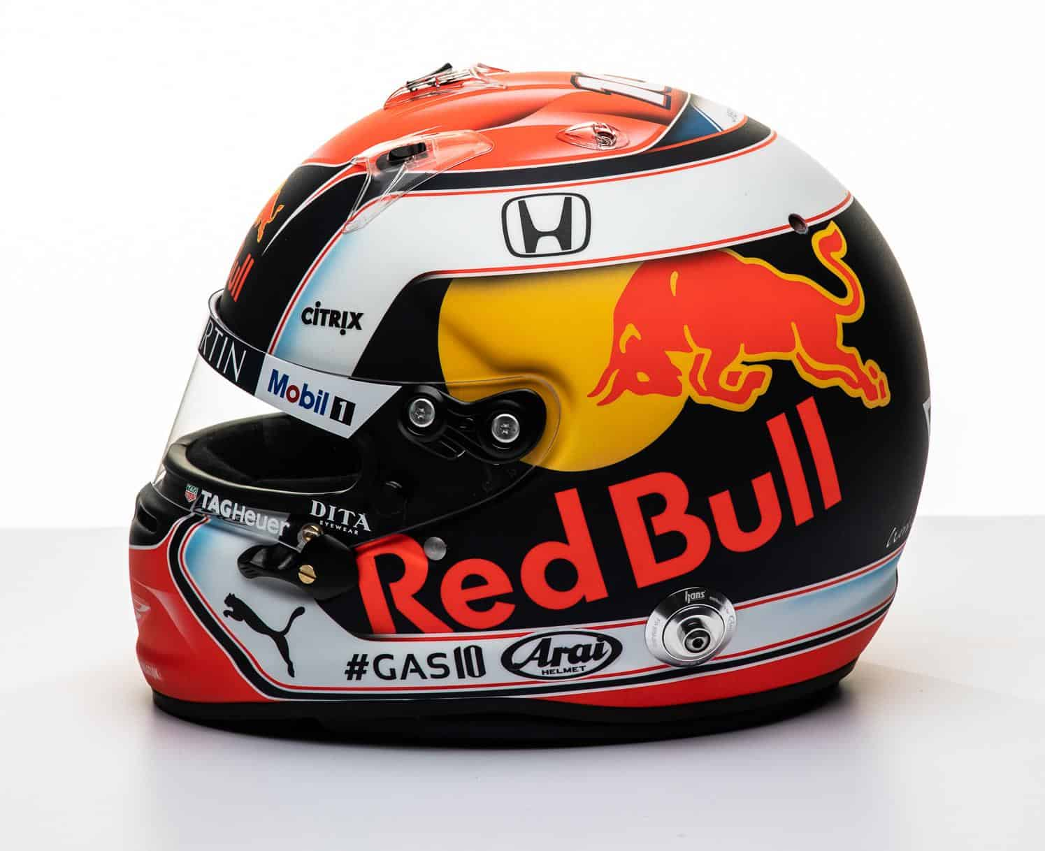 2019 F1 Pierre Gasly Red Bull Honda helmet left side Photo Red Bull Edited by MAXF1net