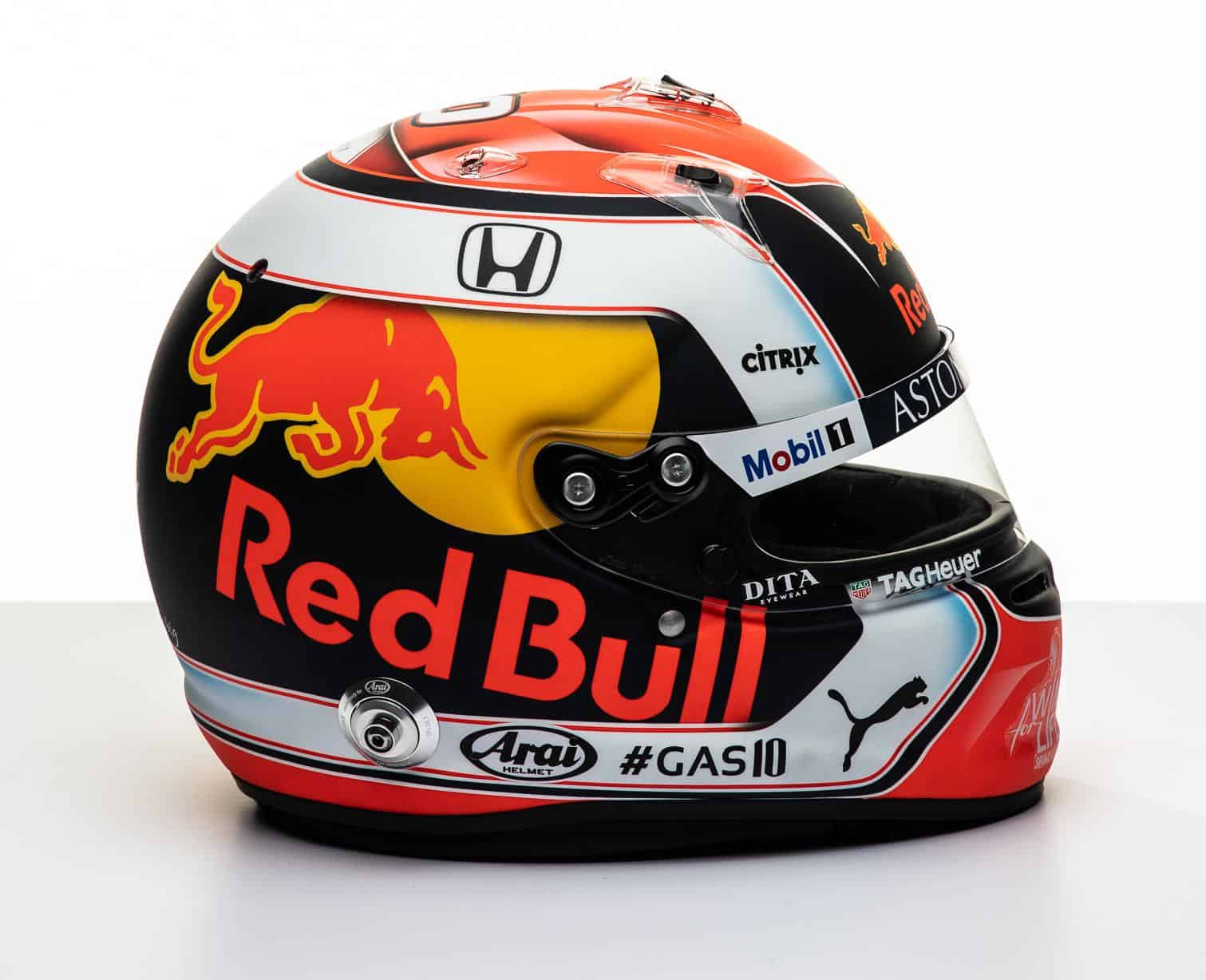 2019 F1 Pierre Gasly Red Bull Honda helmet right side Photo Red Bull Edited by MAXF1net