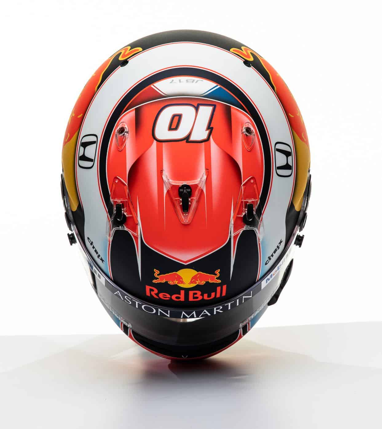 2019 F1 Pierre Gasly Red Bull Honda helmet top Photo Red Bull Edited by MAXF1net