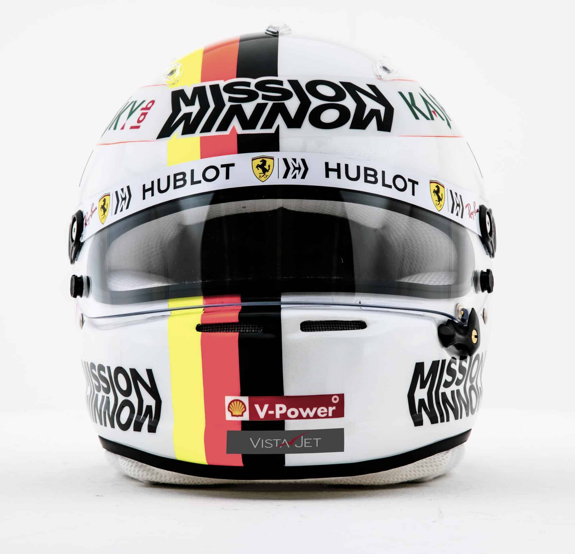 2019 F1 Sebastian Vettel Ferrari helmet front Photo Ferrari Edited by MAXF1net