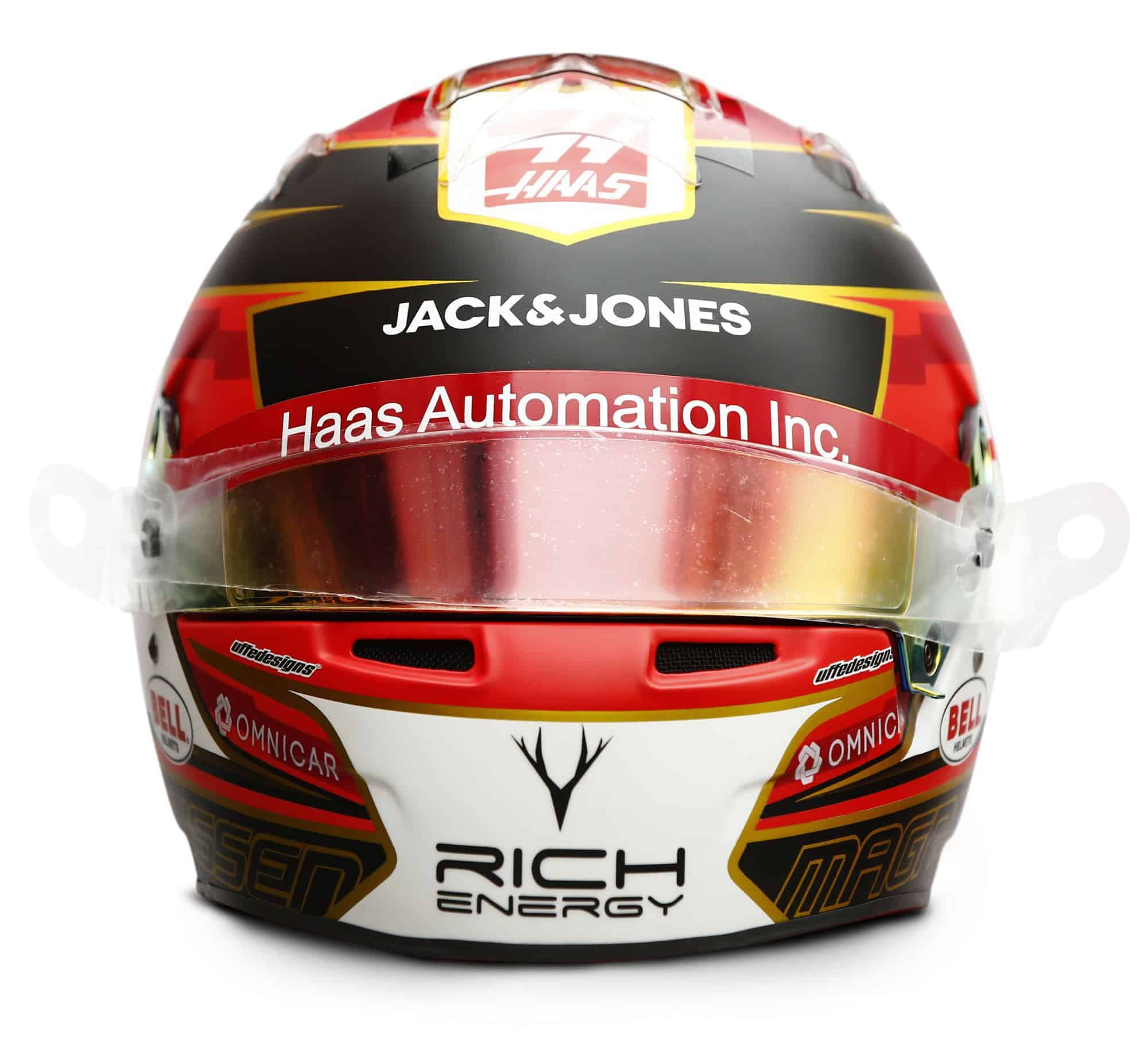 2019 Rich Energy Haas F1 Team Kevin Magnussen helmet front Photo Haas Edited by MAXF1net