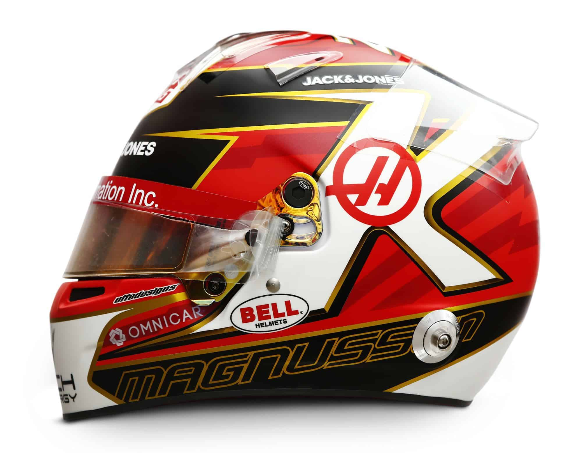 2019 Rich Energy Haas F1 Team Kevin Magnussen helmet left side Photo Haas Edited by MAXF1net