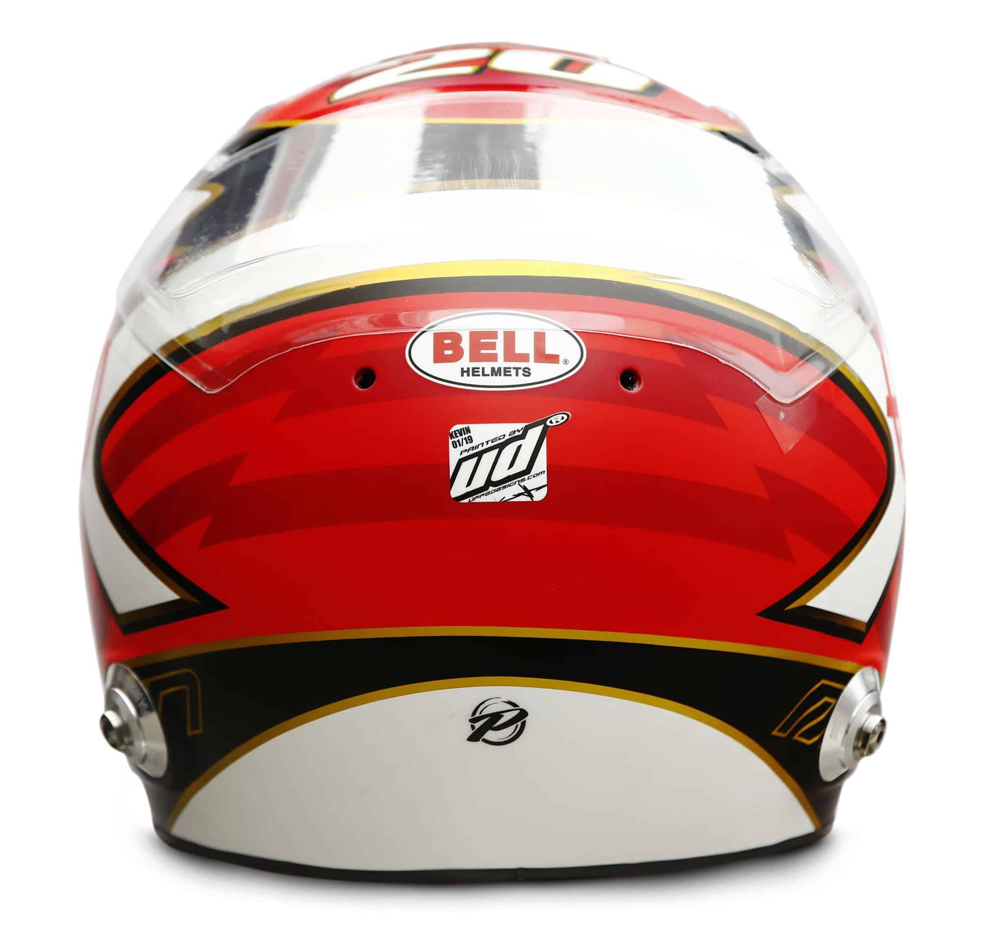 2019 Rich Energy Haas F1 Team Kevin Magnussen helmet rear Photo Haas Edited by MAXF1net
