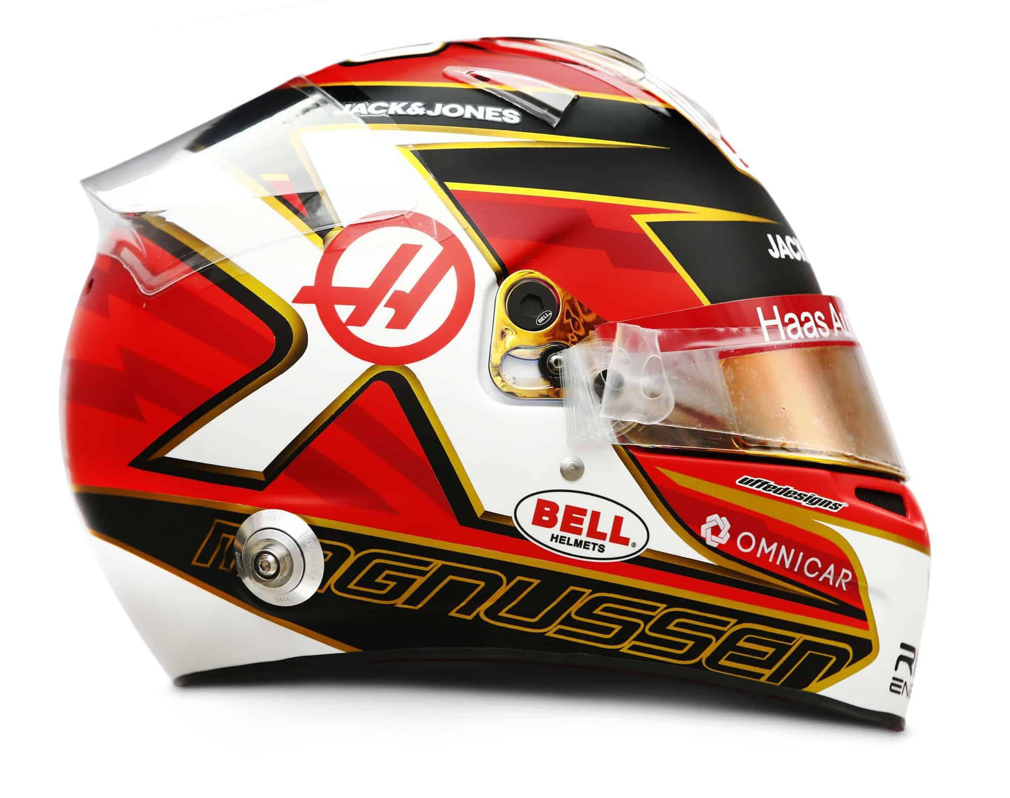 2019 Rich Energy Haas F1 Team Kevin Magnussen helmet right side Photo Haas Edited by MAXF1net