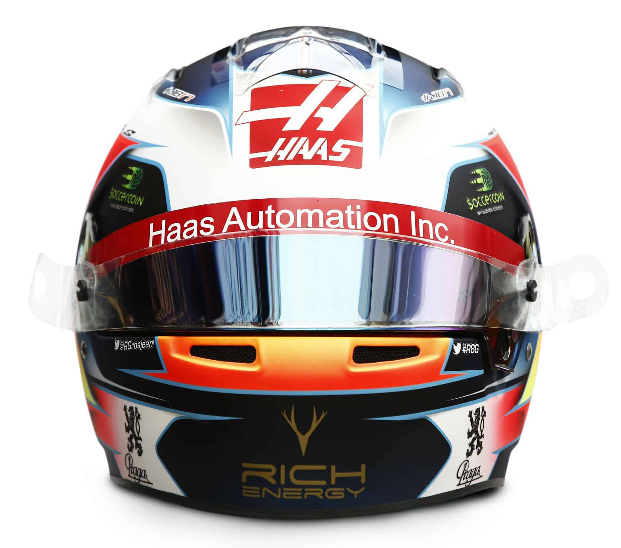 2019 Rich Energy Haas F1 Team Romain Grosjean helmet front Photo Haas Edited by MAXF1net