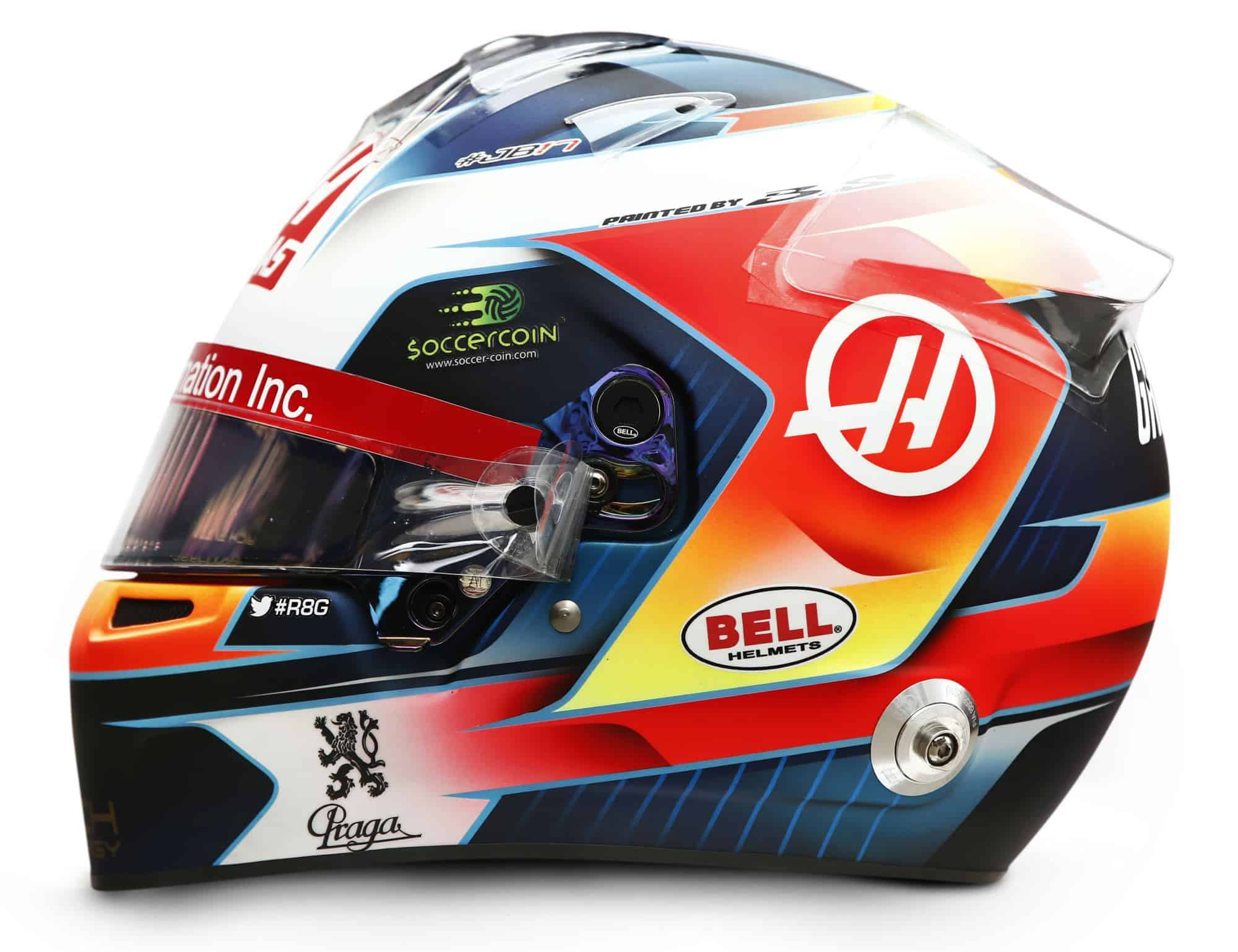 2019 Rich Energy Haas F1 Team Romain Grosjean helmet left side Photo Haas Edited by MAXF1net