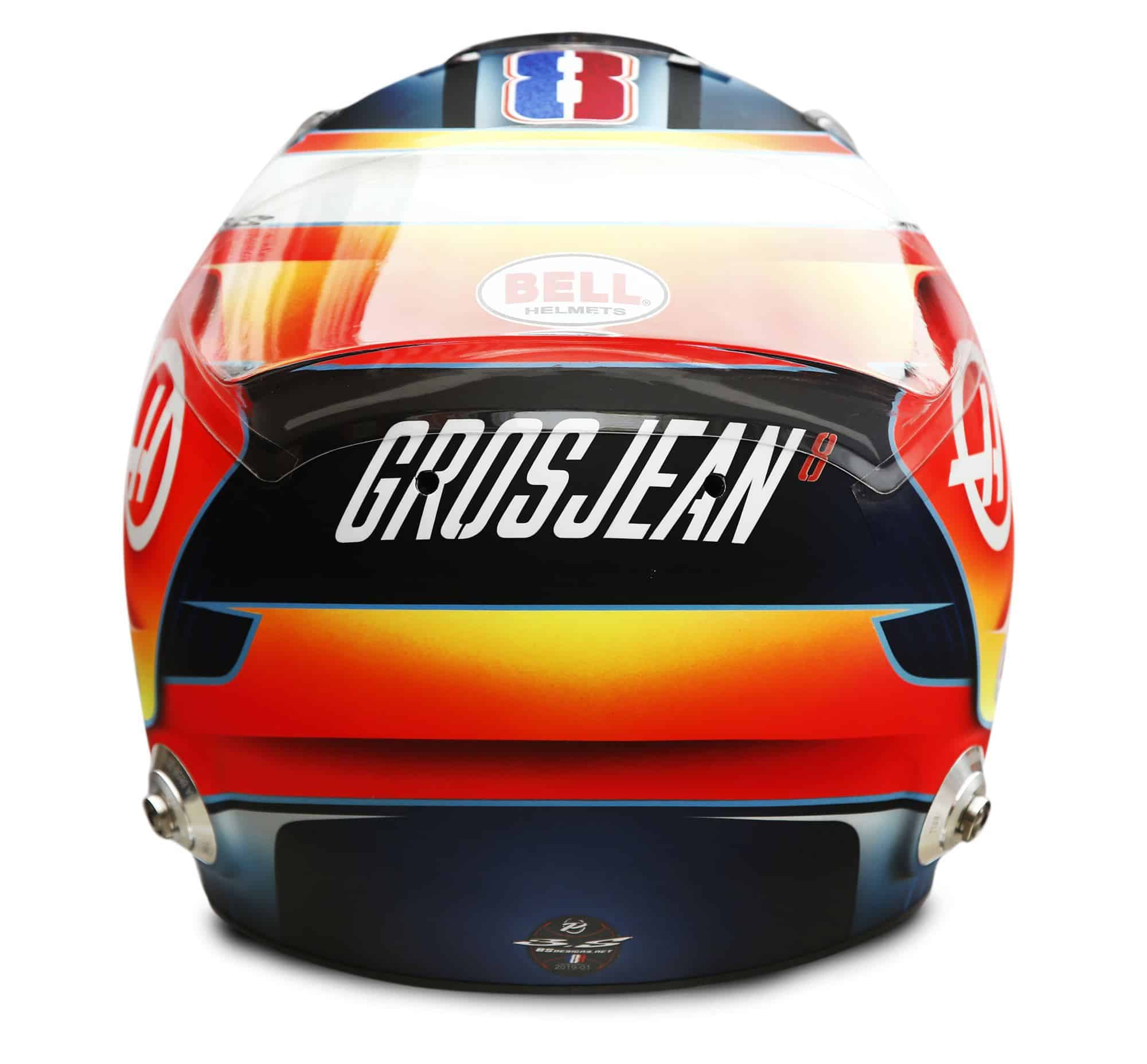 2019 Rich Energy Haas F1 Team Romain Grosjean helmet rear Photo Haas Edited by MAXF1net