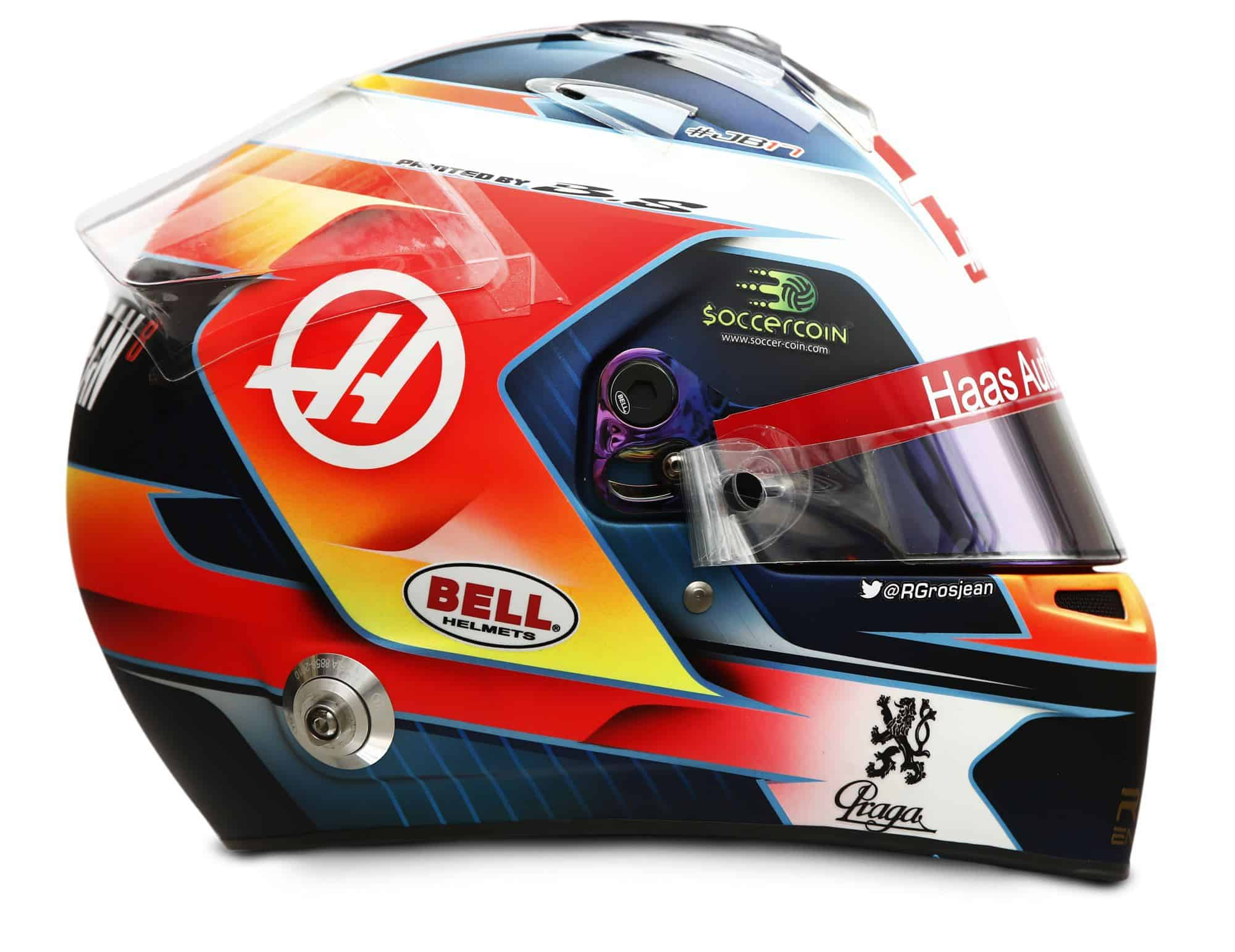 2019 Rich Energy Haas F1 Team Romain Grosjean helmet right side Photo Haas Edited by MAXF1net