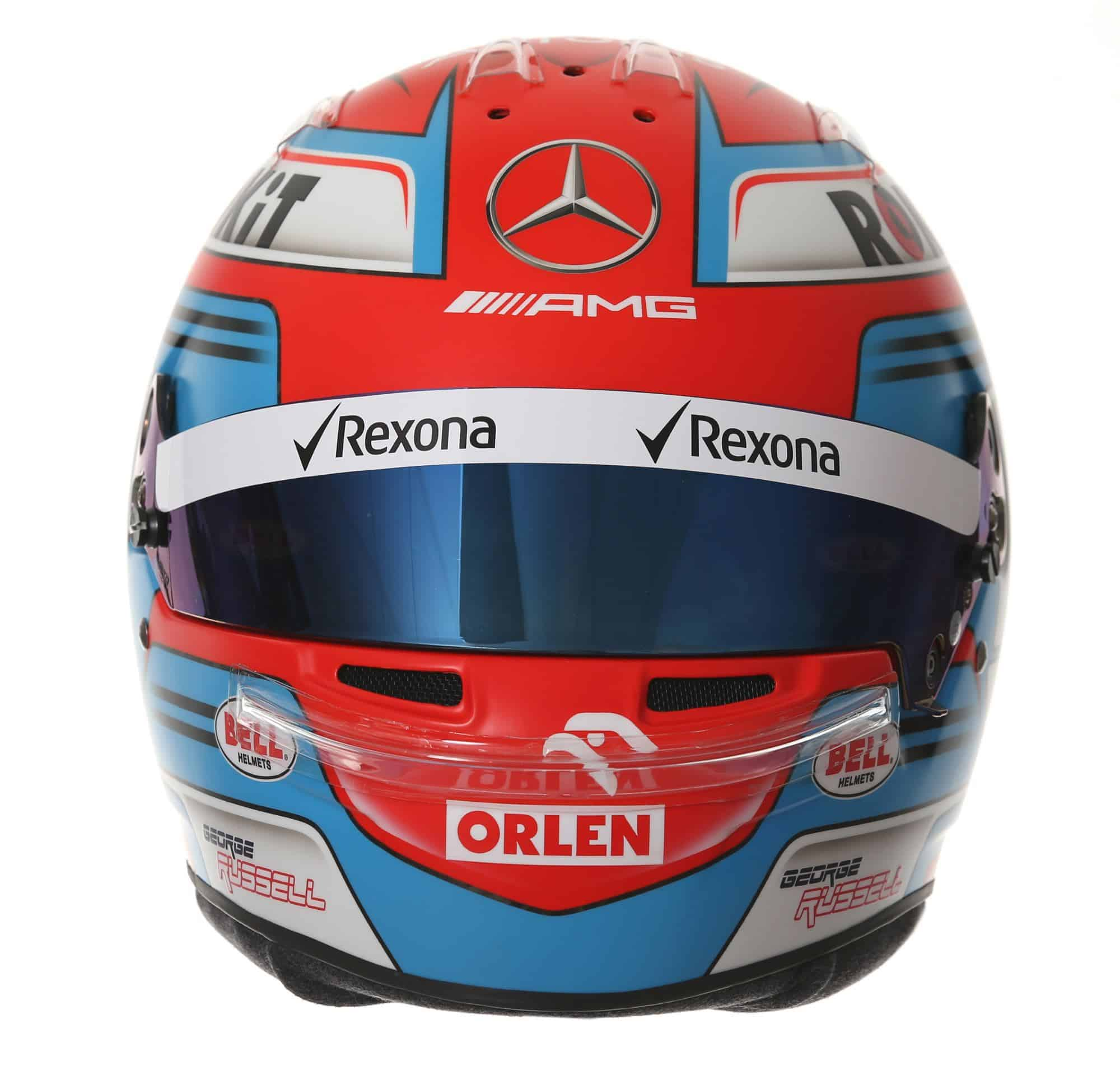 2019 Rokit Williams Racing George Russell helmet front Photo Williams Edited by MAXF1net