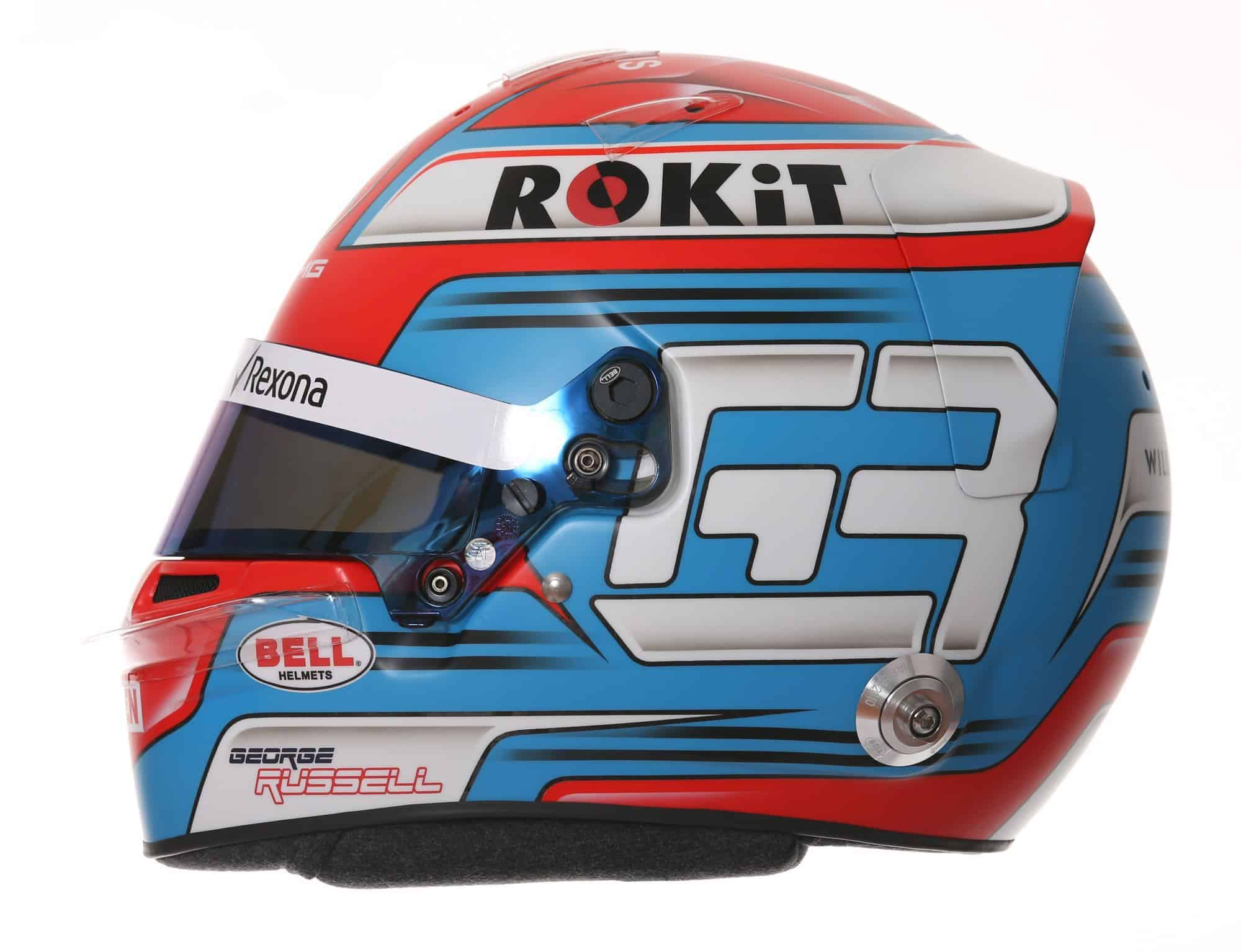 2019 Rokit Williams Racing George Russell helmet left side Photo Williams Edited by MAXF1net