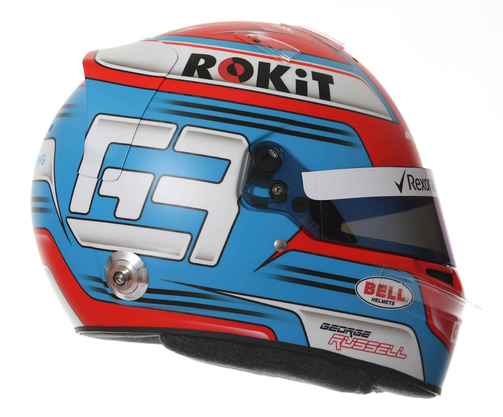 2019 Rokit Williams Racing George Russell helmet right side Photo Williams Edited by MAXF1net
