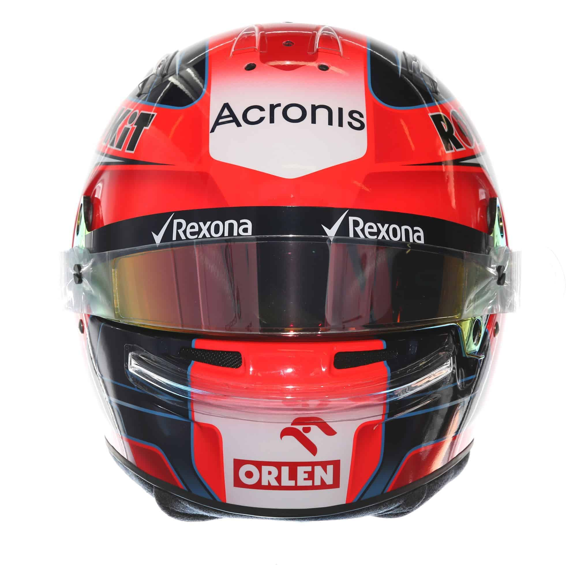 2019 Rokit Williams Racing Robert Kubica helmet front Photo Williams Edited by MAXF1net